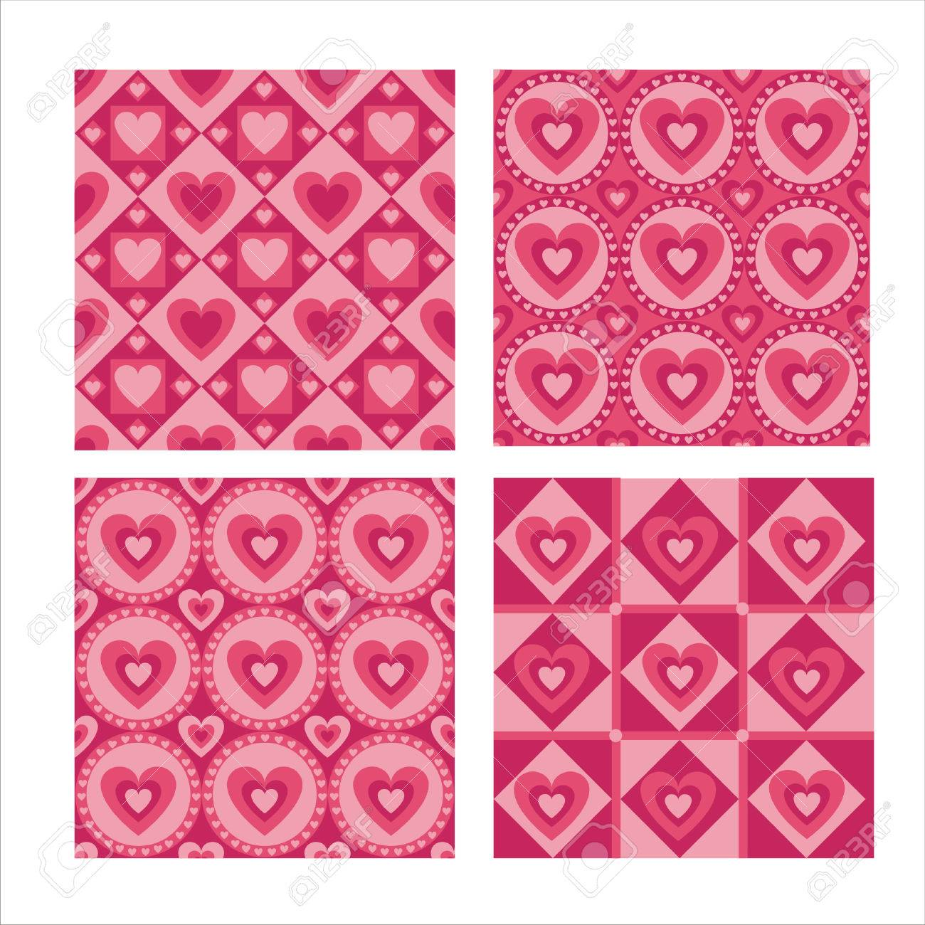set of 4 cute hearts patterns Stock Vector - 8304093
