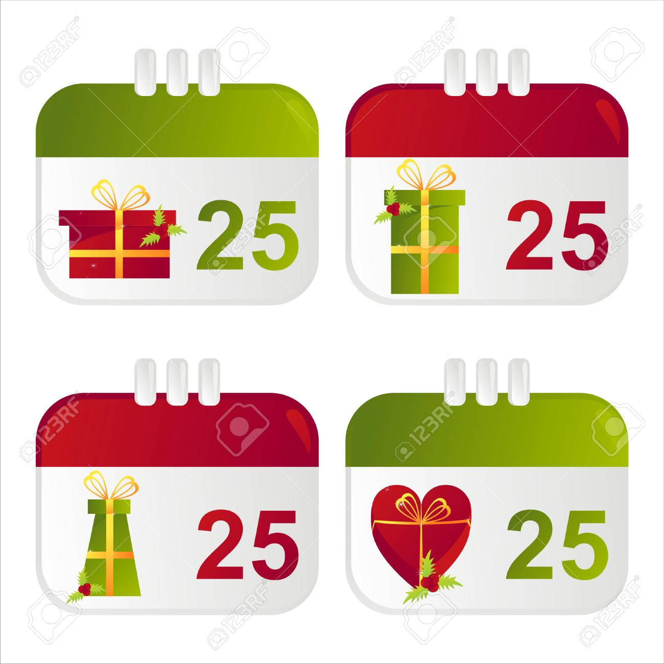 set of 4 christmas calendar icons Stock Vector - 8320153