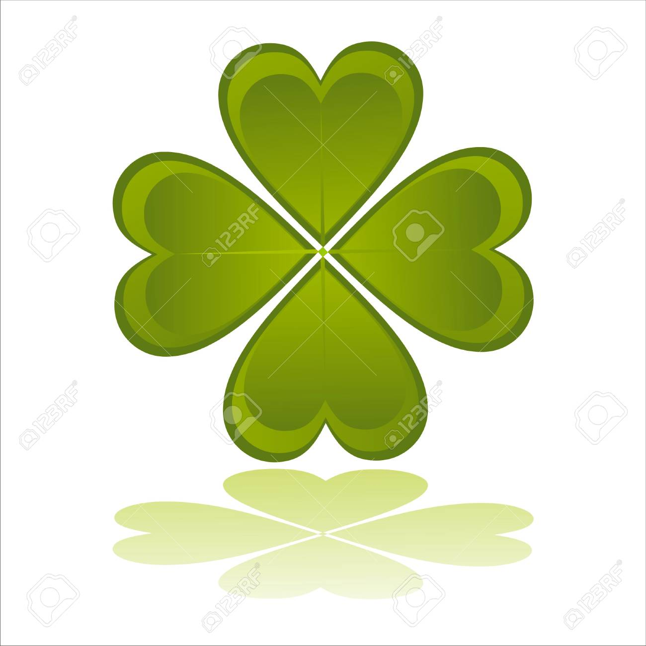 glossy clover isolated on white Stock Vector - 8709305