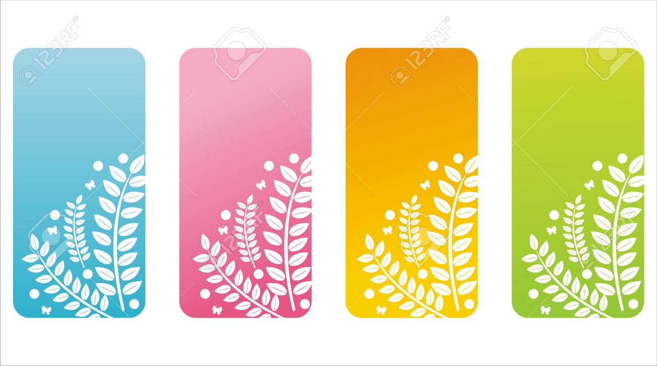set of 4 colorful floral banners Stock Vector - 8993362
