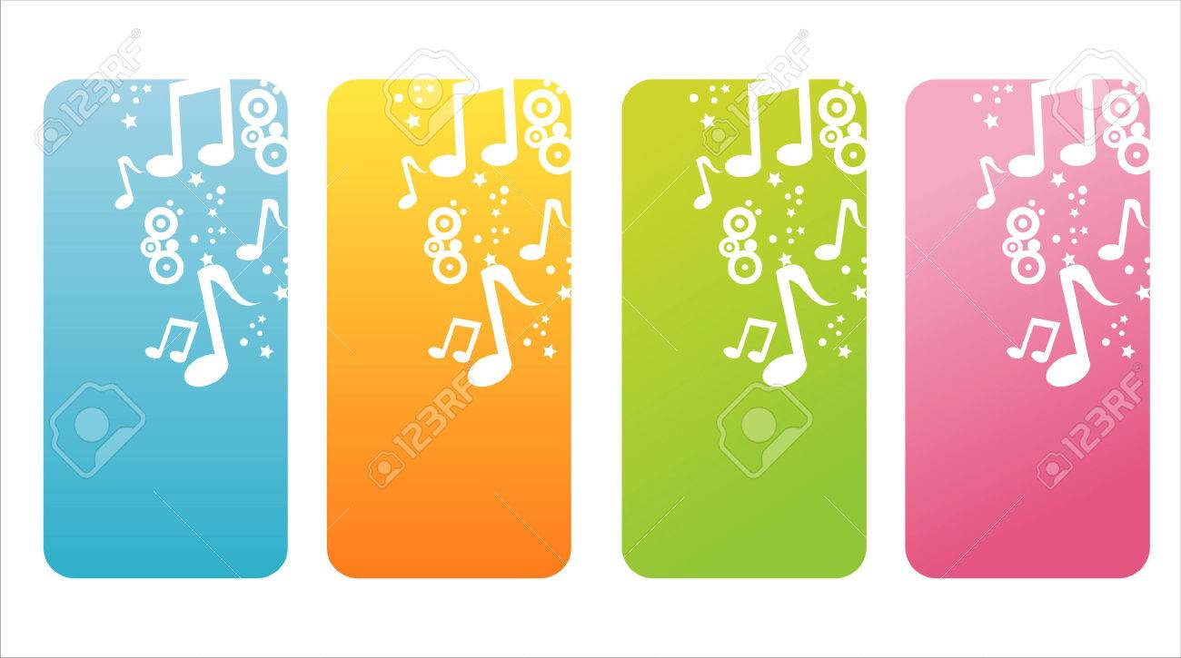 set of 4 colorful musical banners Stock Vector - 9011868