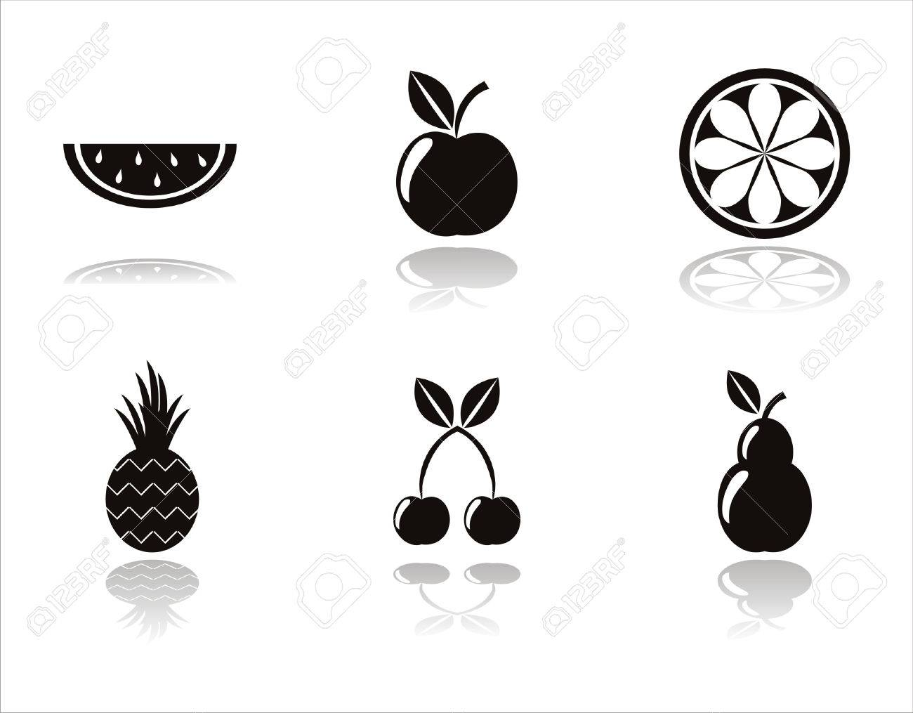 set of 6 black fruits icons Stock Vector - 9037055