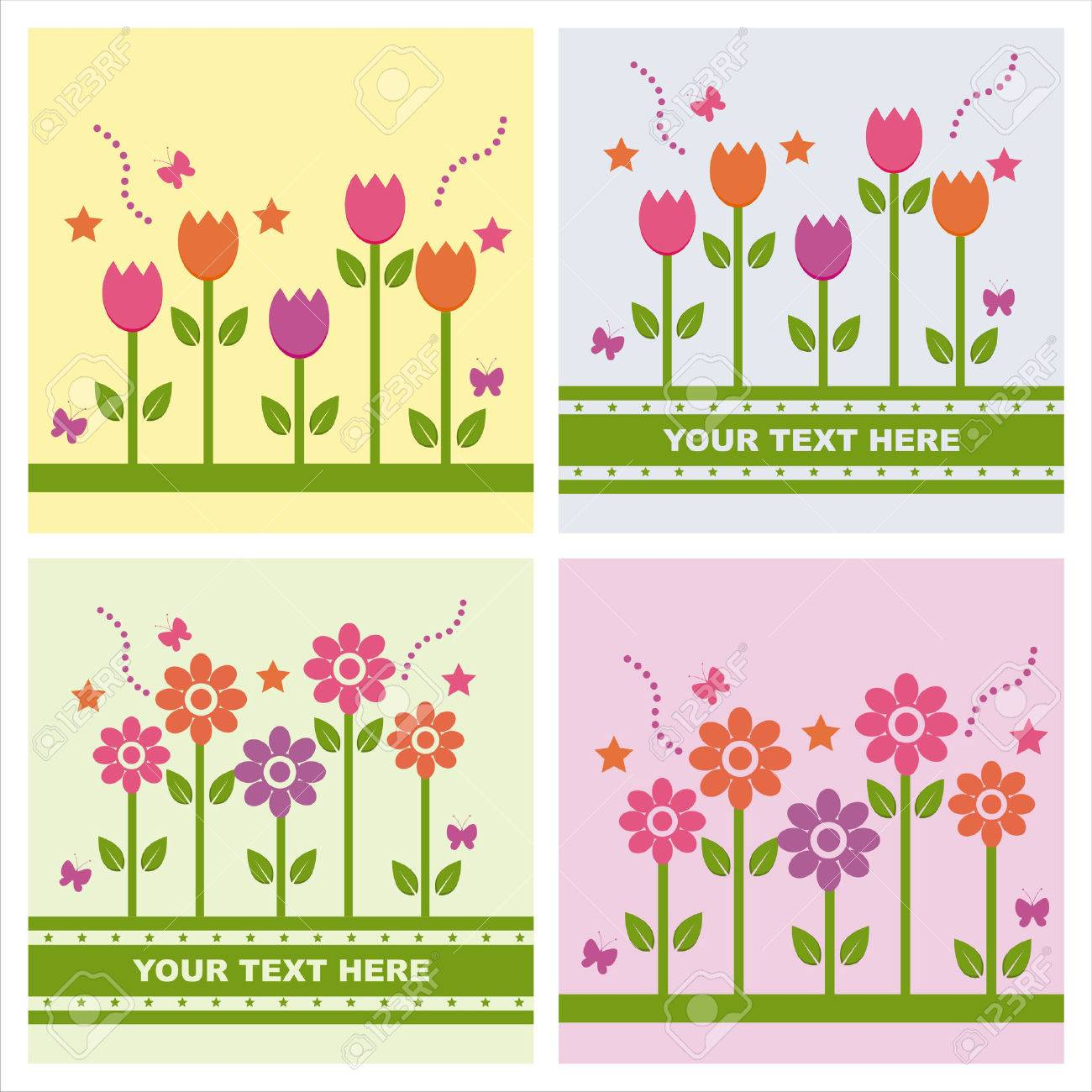 Cute spring flower - Vector Set Of 4 Cute Spring Backgrounds