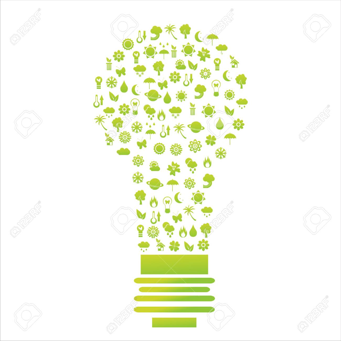 ecological lamp made of icons Stock Vector - 9082964