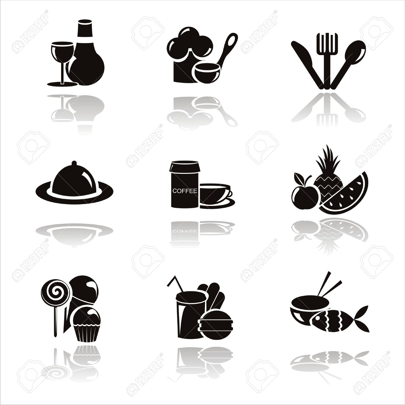 set of 9 black restaurant icons Stock Vector - 9203276