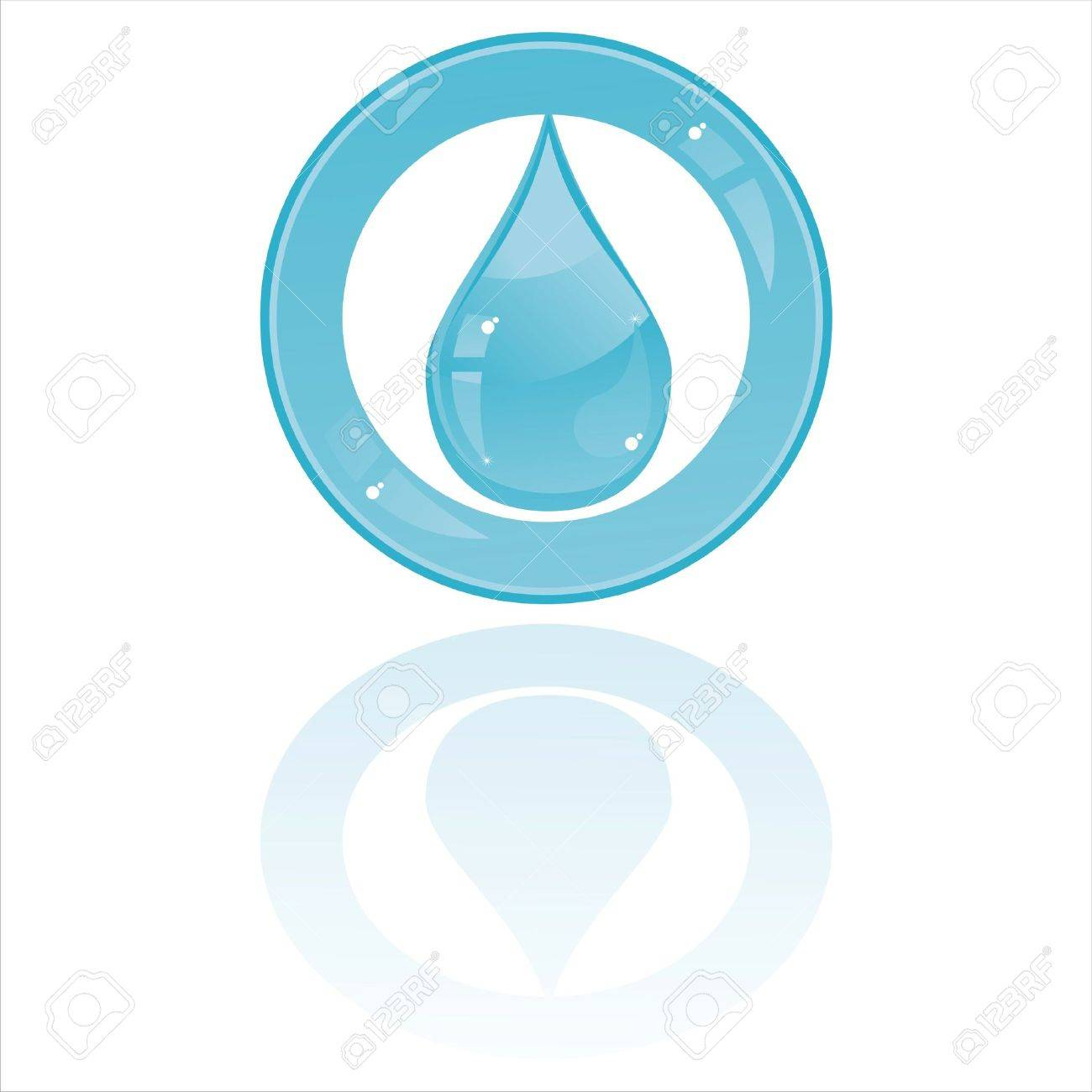 glossy drop button isolated on white Stock Vector - 9233517