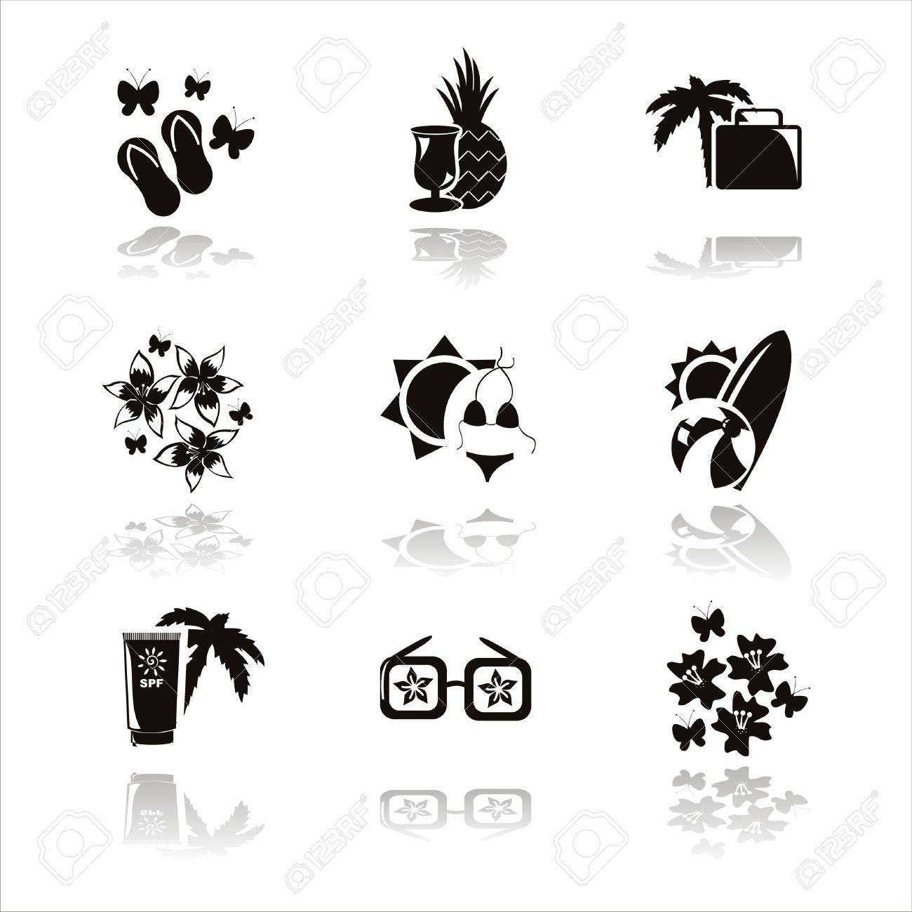set of 9 black summer vacation icons Stock Vector - 9233531