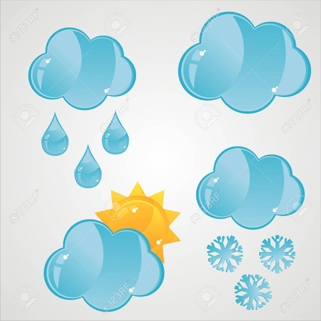 set of 4 glossy clouds icons Stock Vector - 9273439