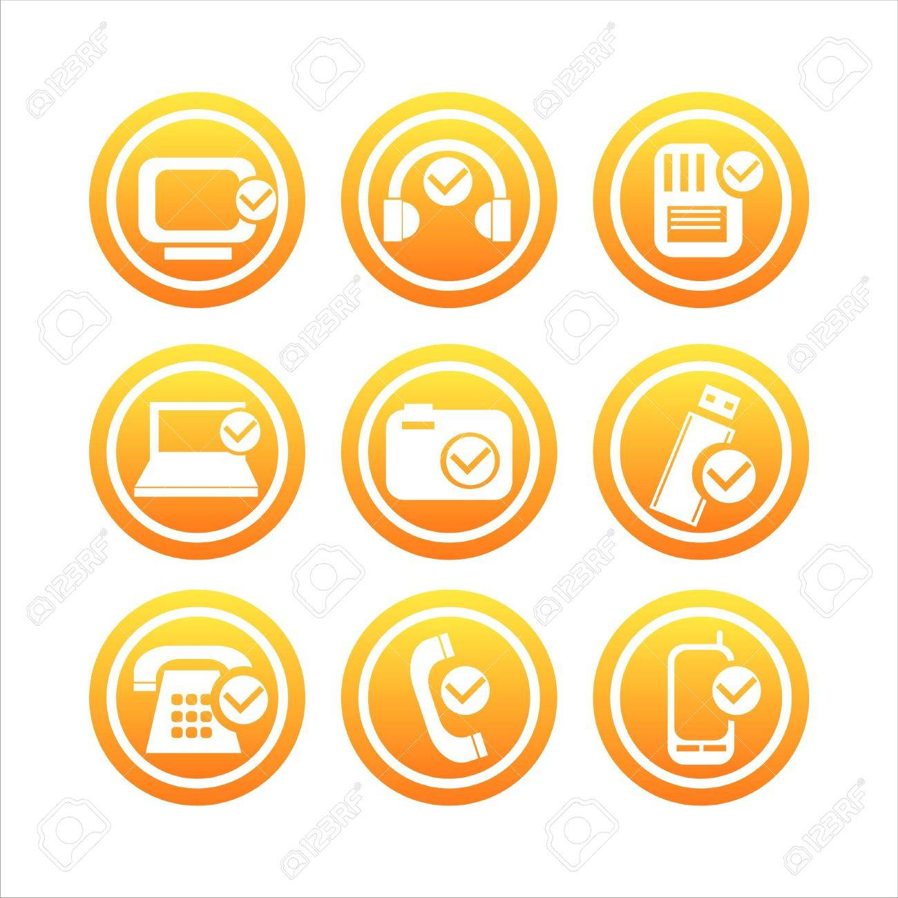 set of 9 orange technology with checks signs Stock Vector - 9314742