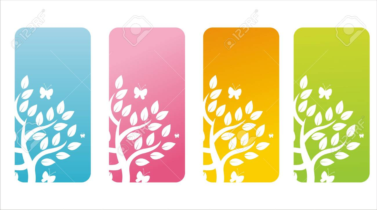 set of 4 colorful floral banners Stock Vector - 9325526