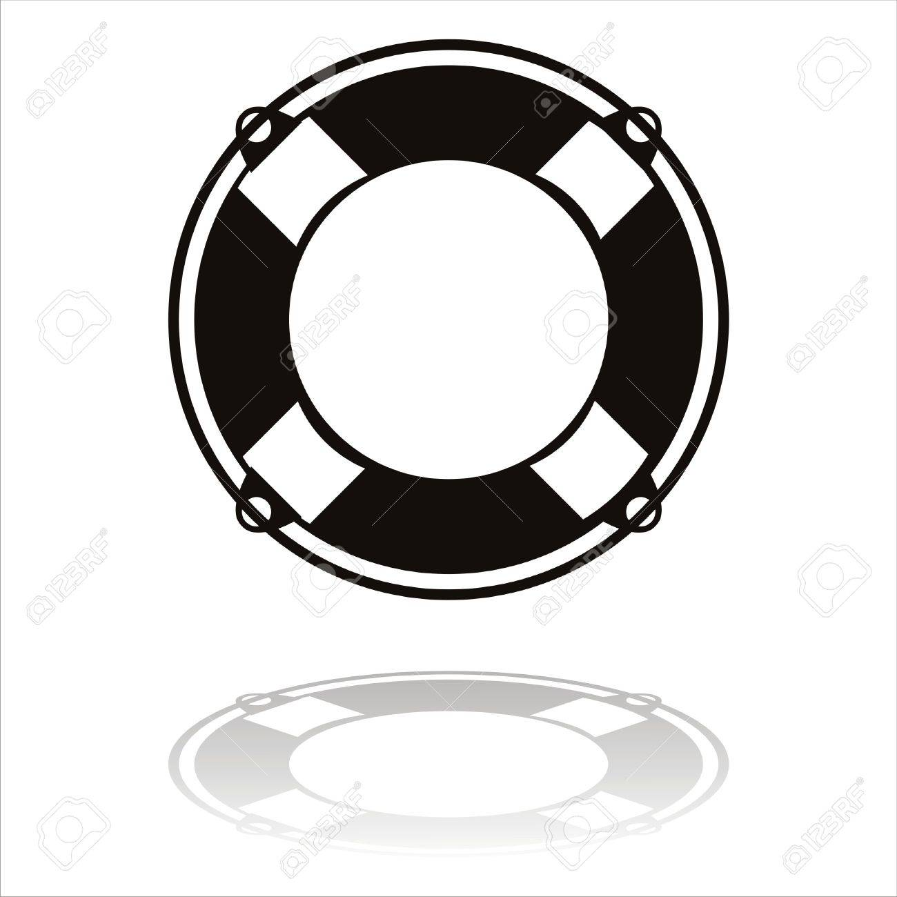black life buoy icon isolated on white Stock Vector - 9604735