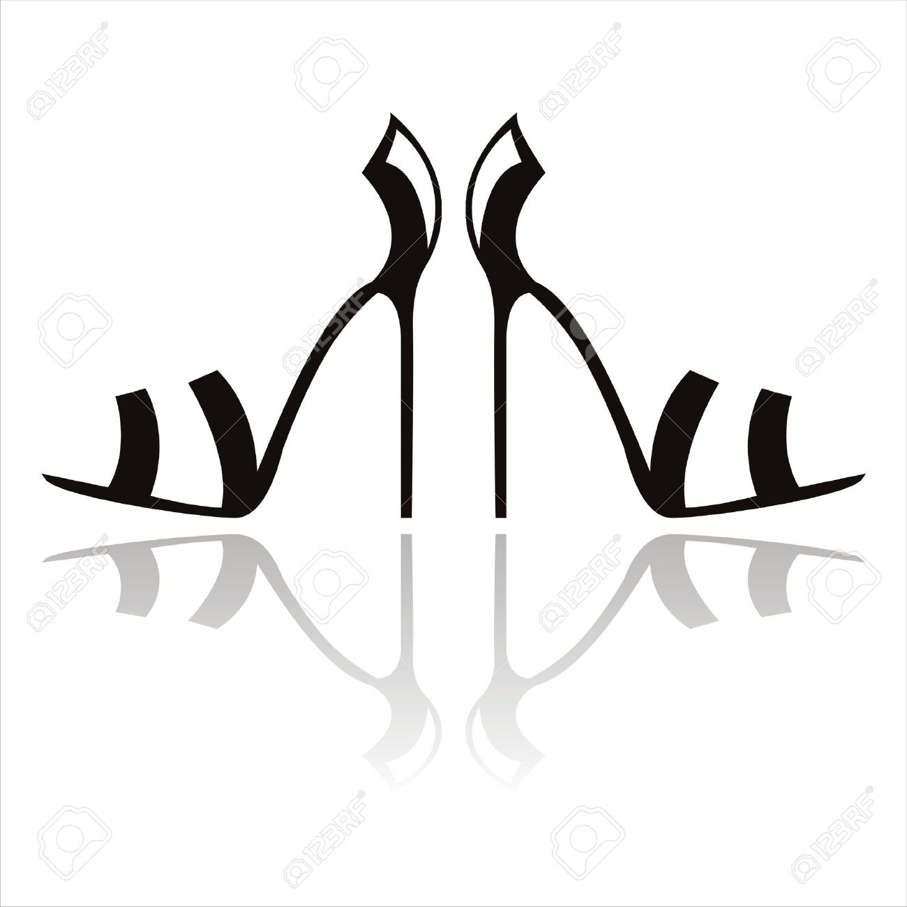 black high heel shoes isolated on white Stock Vector - 9734728