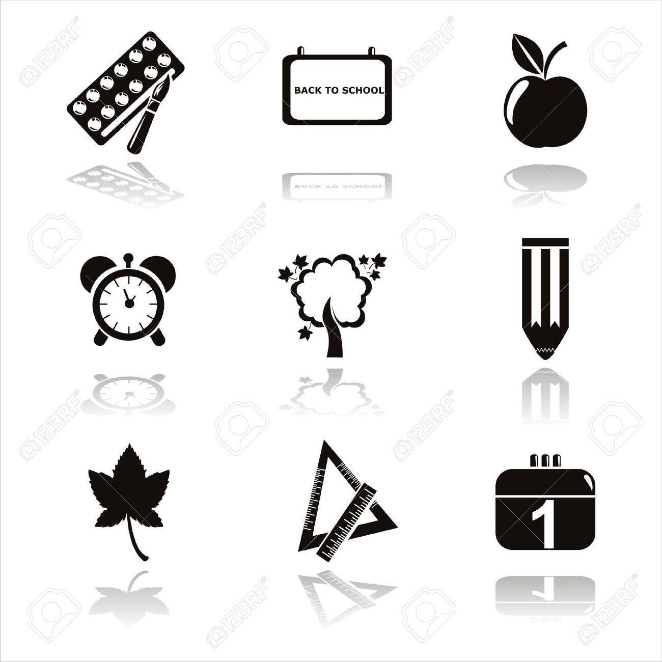set of 9 black school icons Stock Vector - 10011380