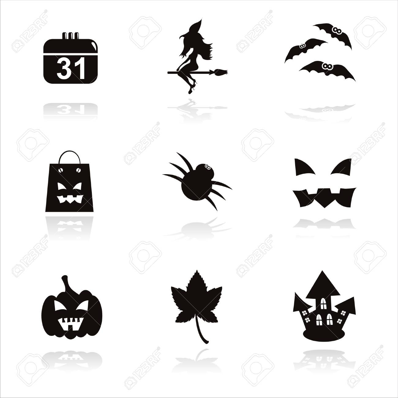set of 9 black halloween icons Stock Vector - 10504740