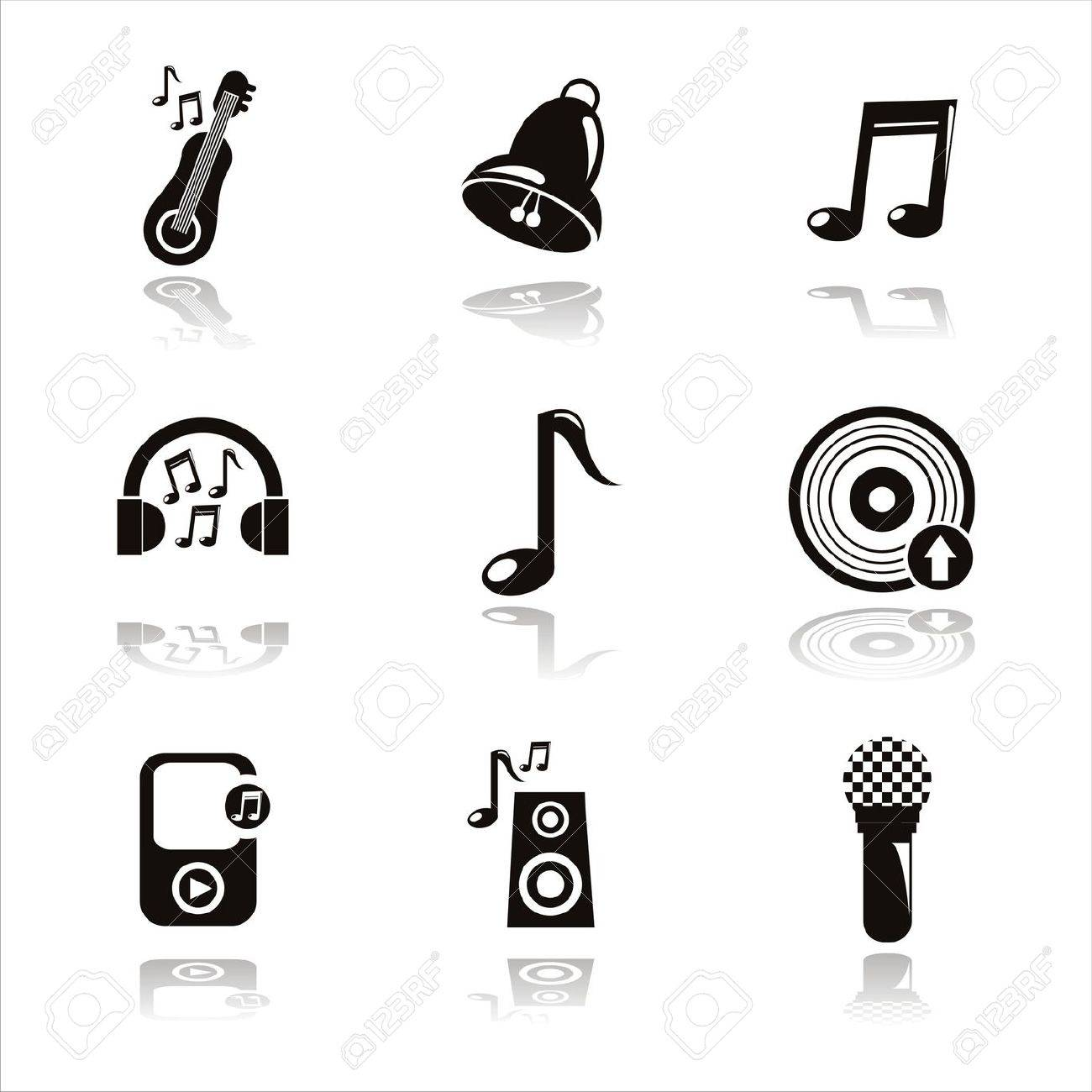 set of 9 black musical icons Stock Vector - 10709279