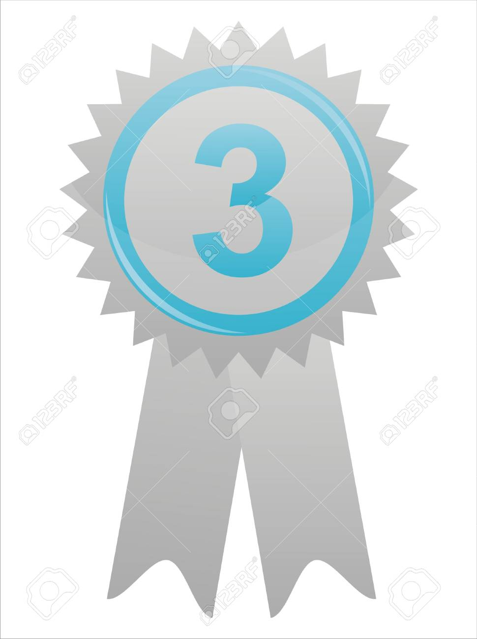 blue label with number three Stock Vector - 11020845