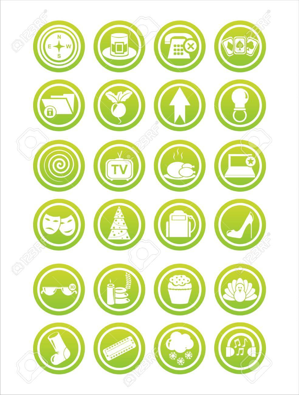 set of 21 green web signs Stock Vector - 11344905