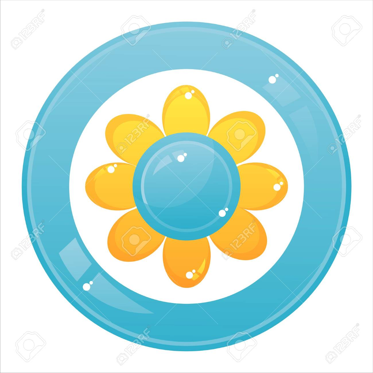 colorful flower button isolated on white Stock Vector - 12056026