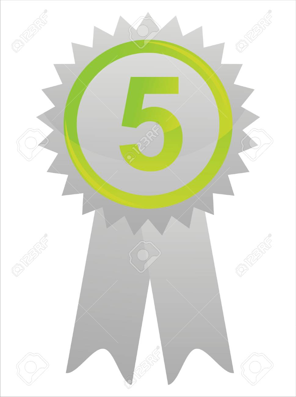 glossy green label with number five Stock Vector - 12056050