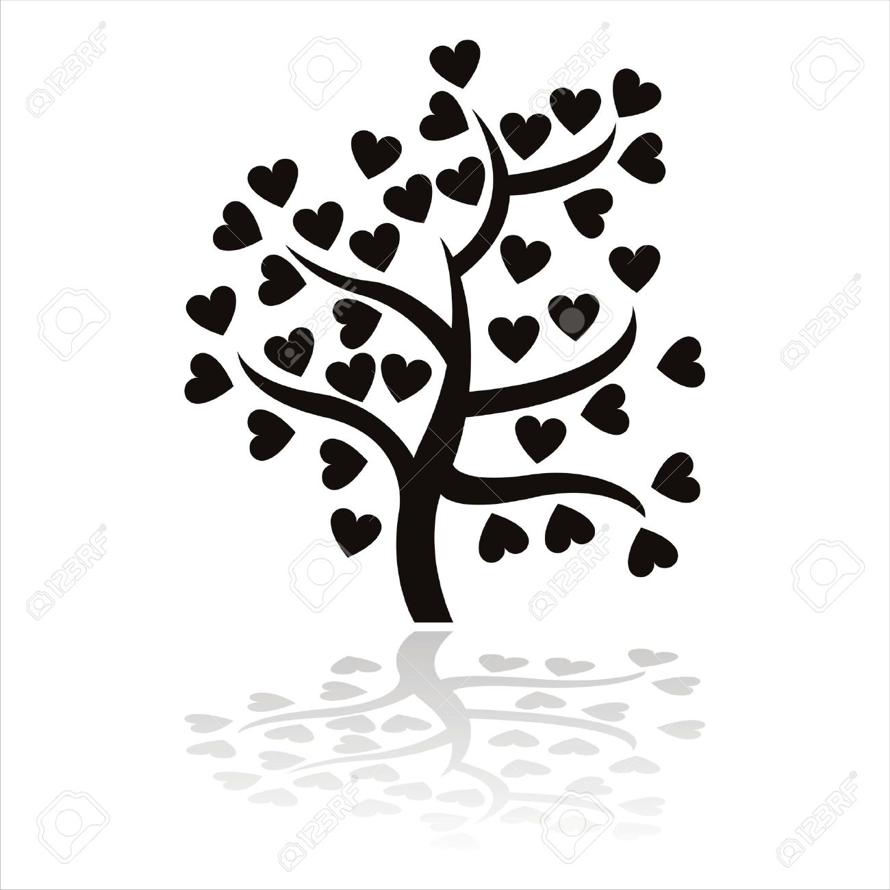 black tree icon with hearts isolated on white Stock Vector - 12414186