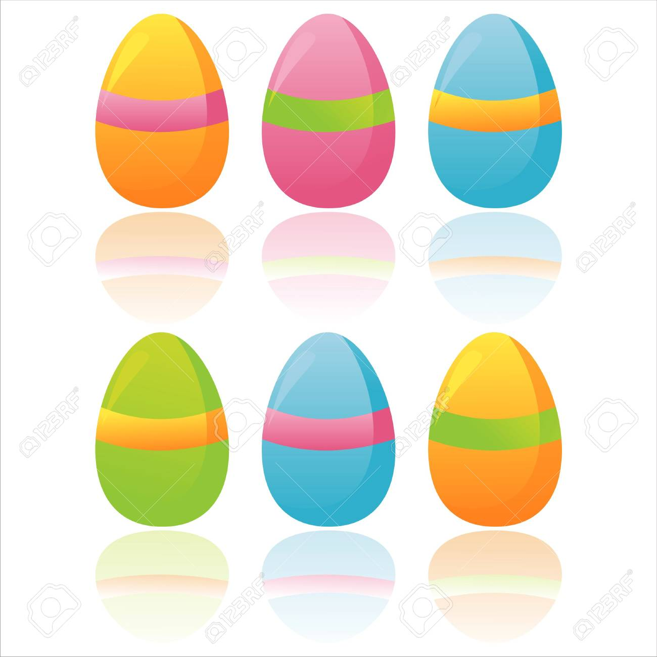 set of 6 colorful easter eggs Stock Vector - 12928688