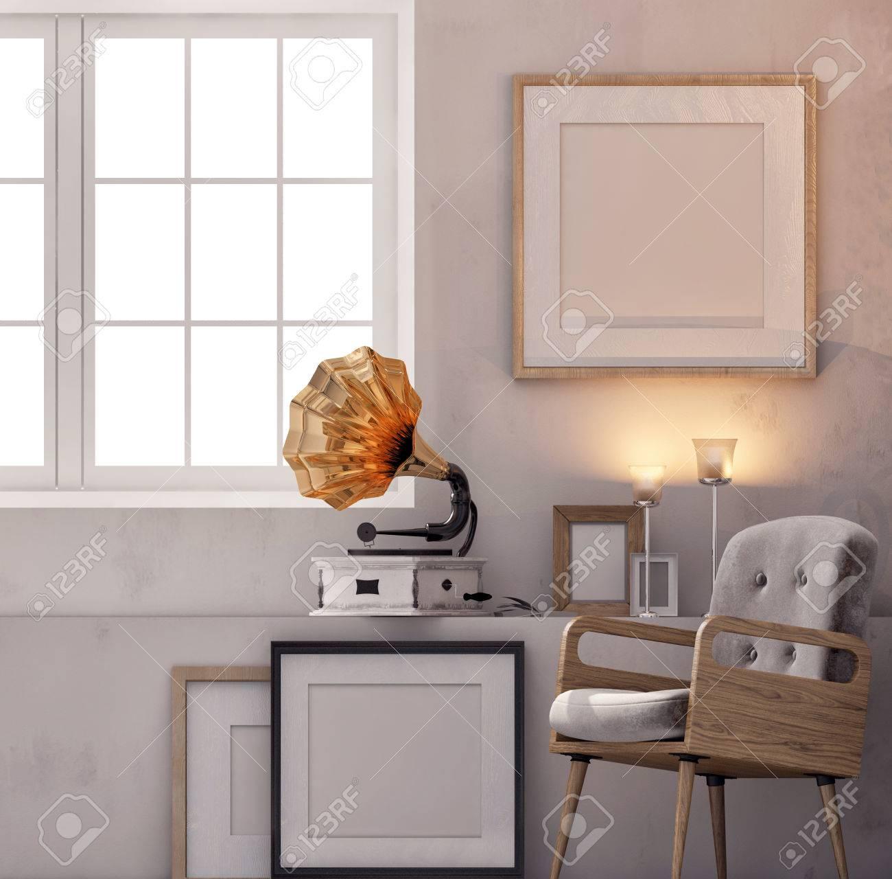 3D-Darstellung, Dachboden Interieur Mit Bank, Rahmen Und Grammophon ...