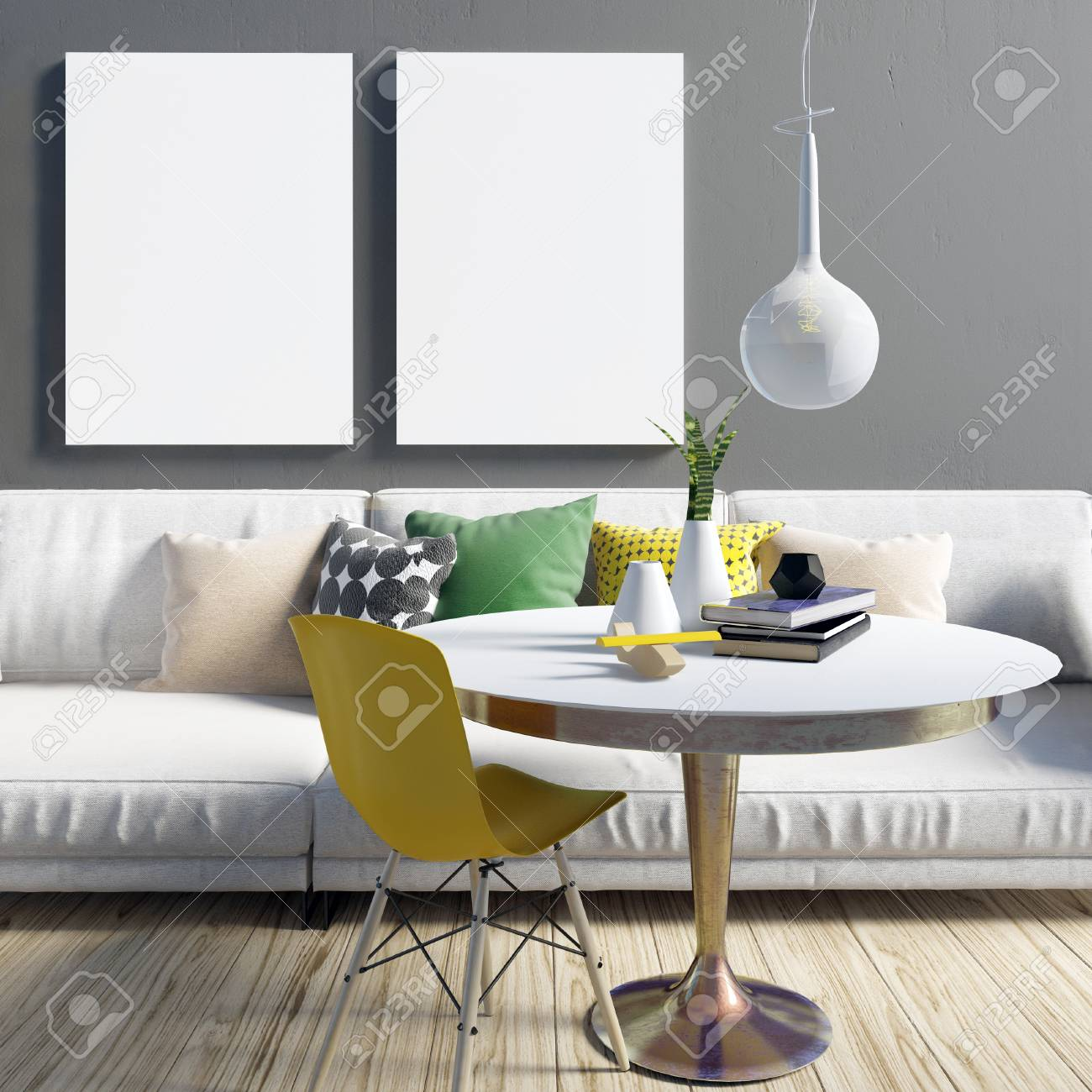 Cozy Modern Living Room Interior In Contrasting Colours. Relaxation ...