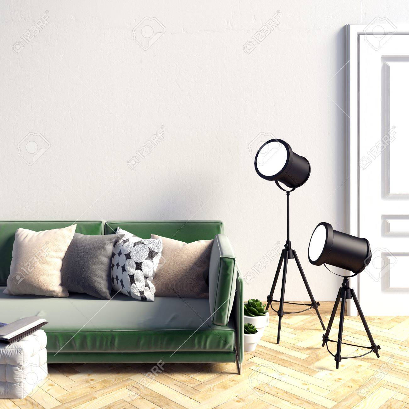 Mock Up Wall In Interior With Sofa Living Room Resting Place Modern Style