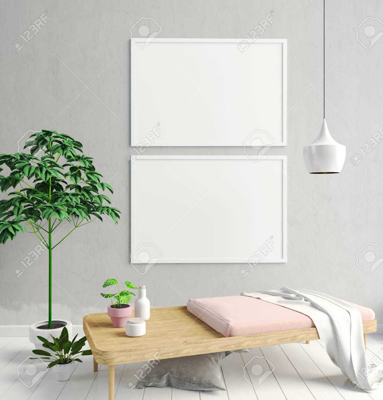 Modernes Interieur Im Skandinavischen Stil. 3D-Darstellung. Poster ...