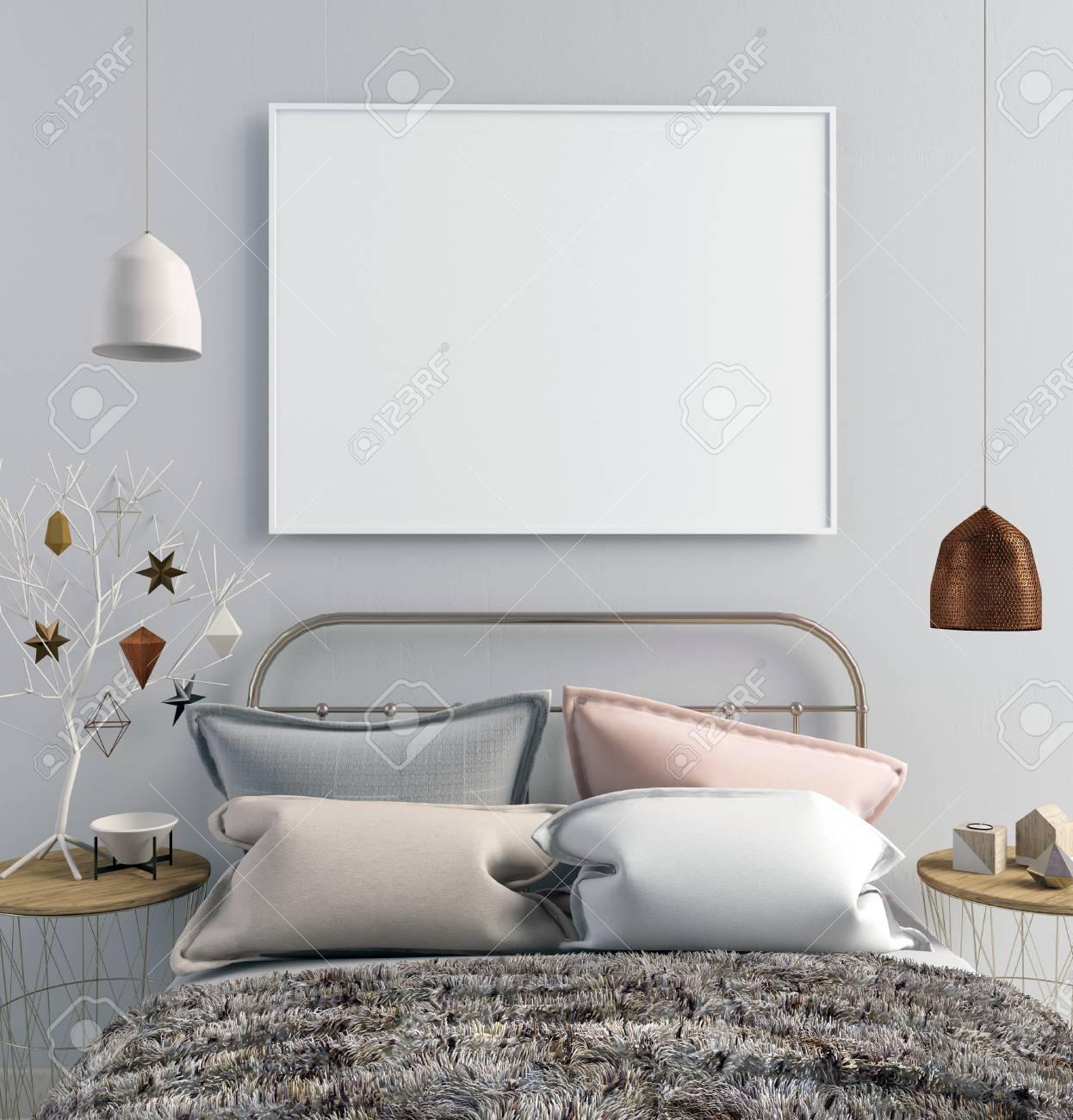 Intérieur Moderne De Noël De La Chambre à Coucher, Style Scandinave ...