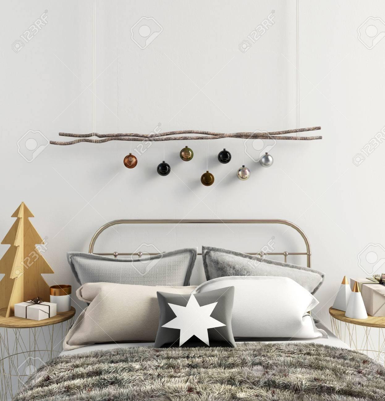 Beau Banque Du0027images   Intérieur Moderne De Noël De La Chambre à Coucher, Style  Scandinave. Illustration 3D Affiche Maquette