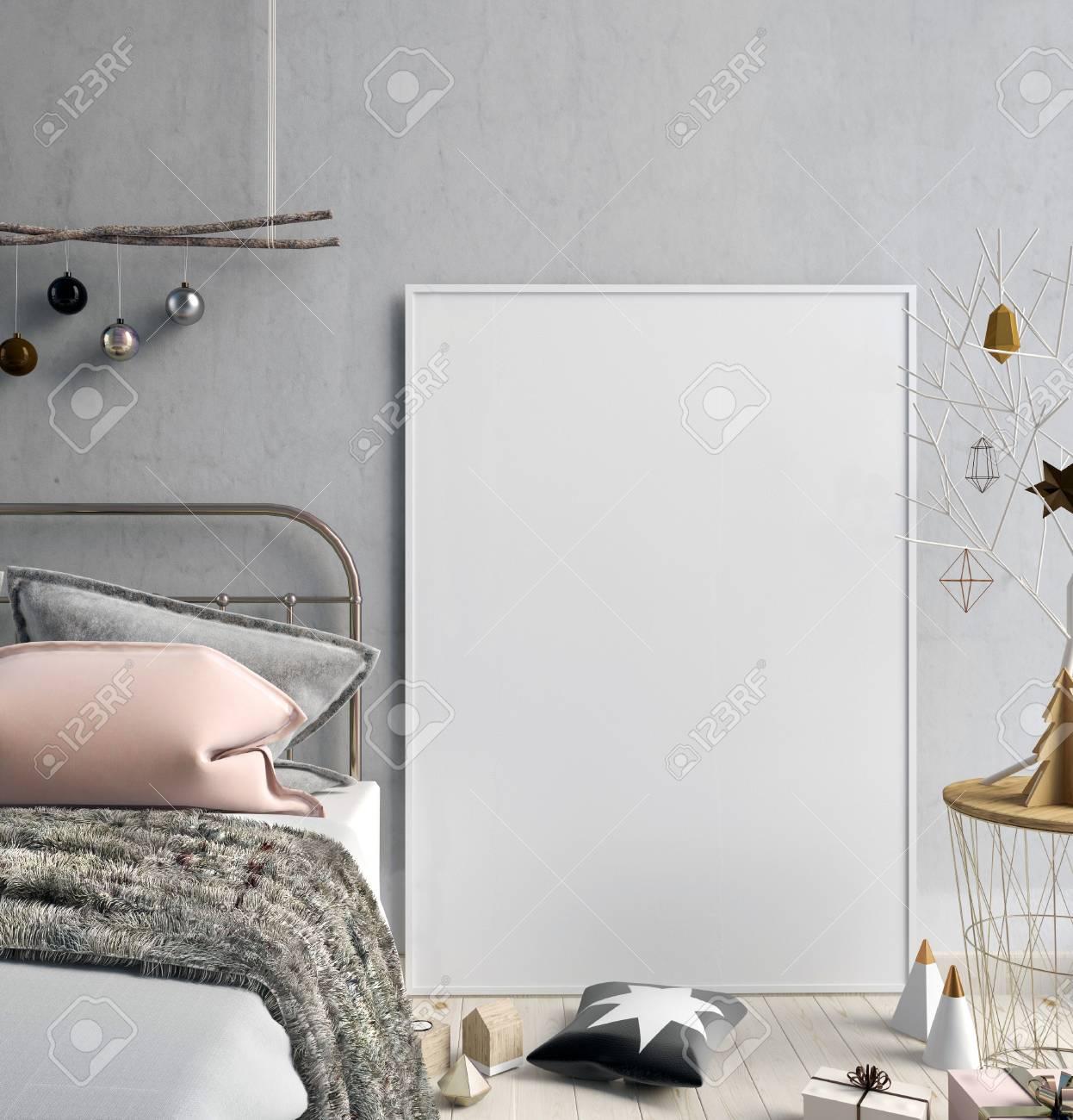 Banque Du0027images   Intérieur Moderne De Noël De La Chambre à Coucher, Style  Scandinave. Illustration 3D Affiche Maquette