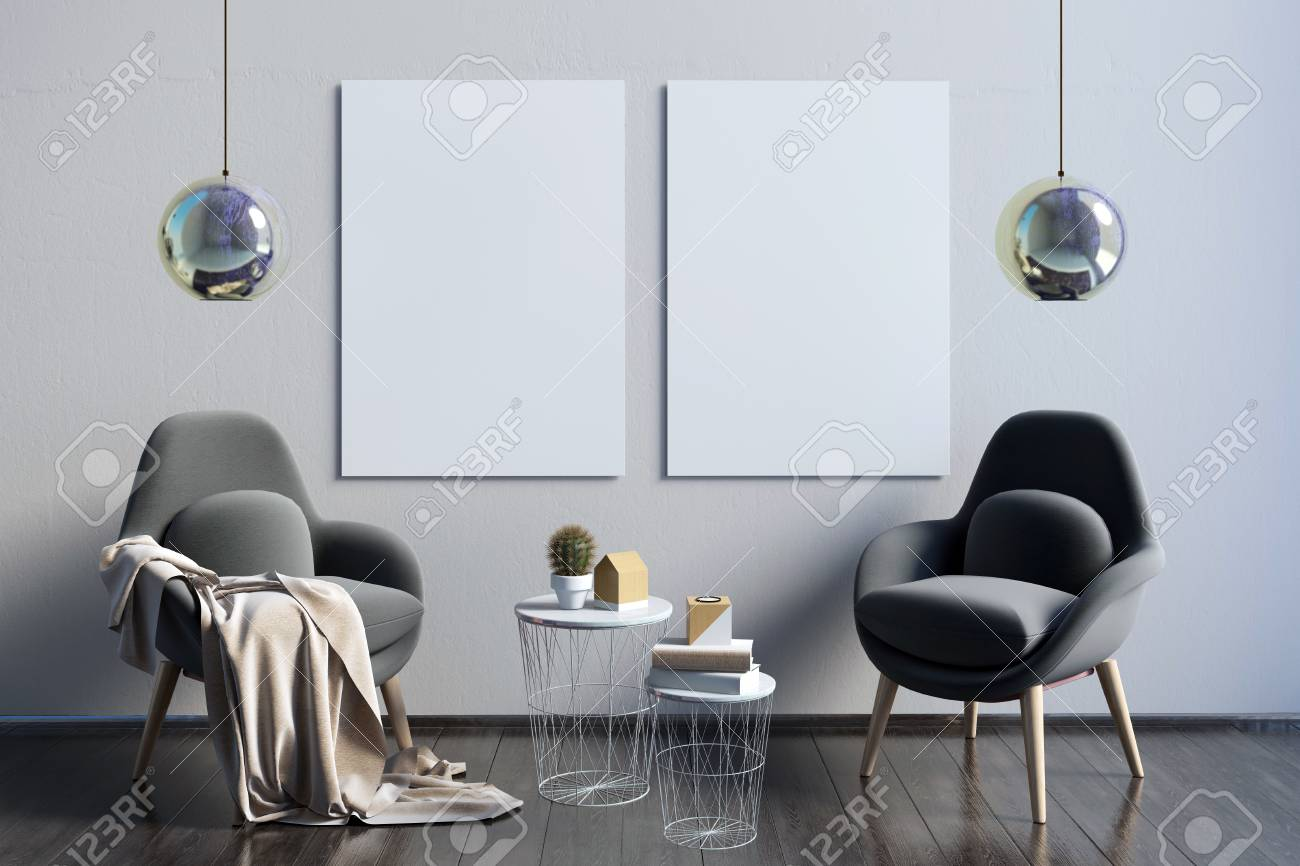 Modern interior with poster and black sofa d rendering stock