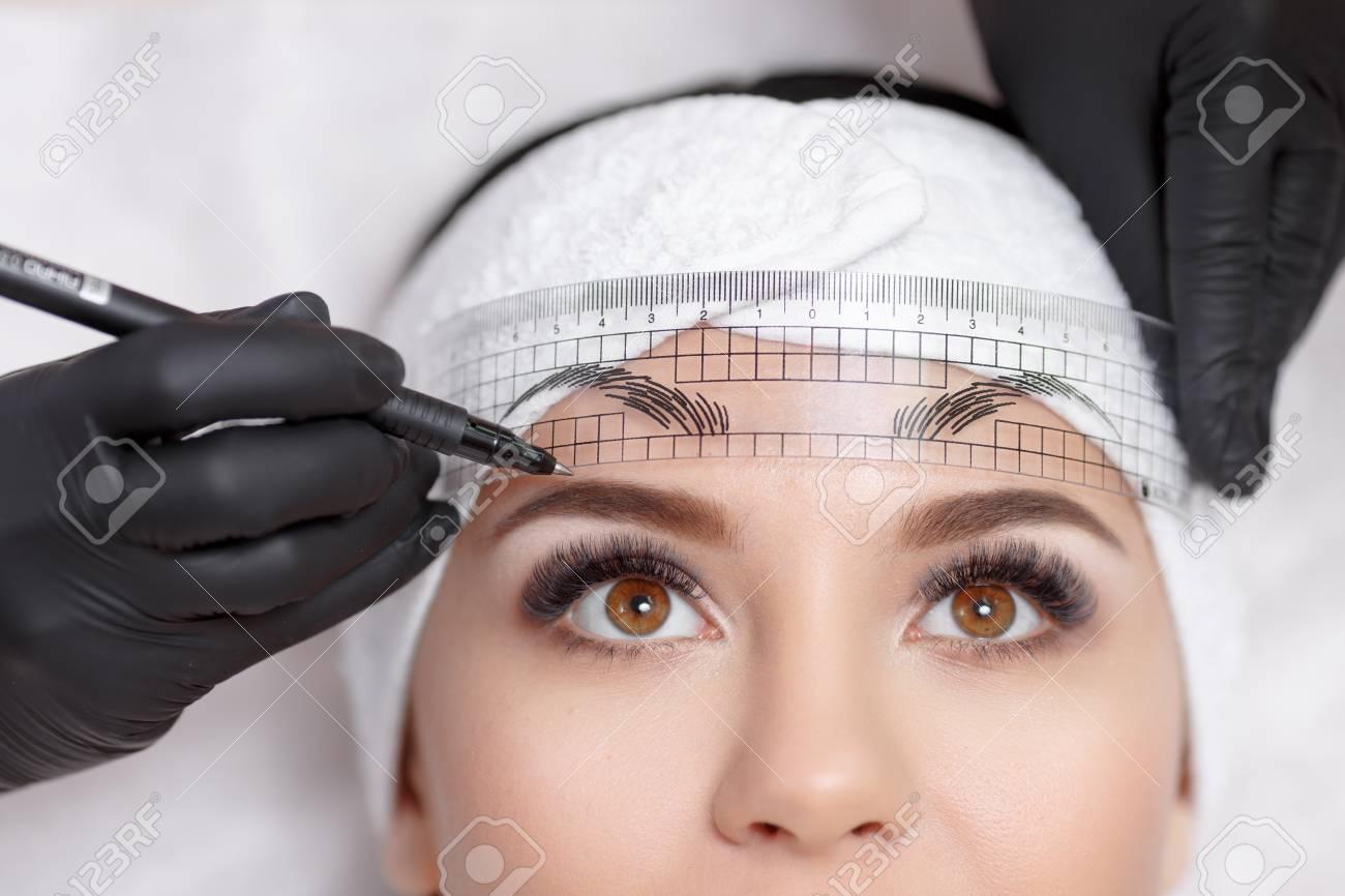 Permanent makeup eyebrows. - 68876862