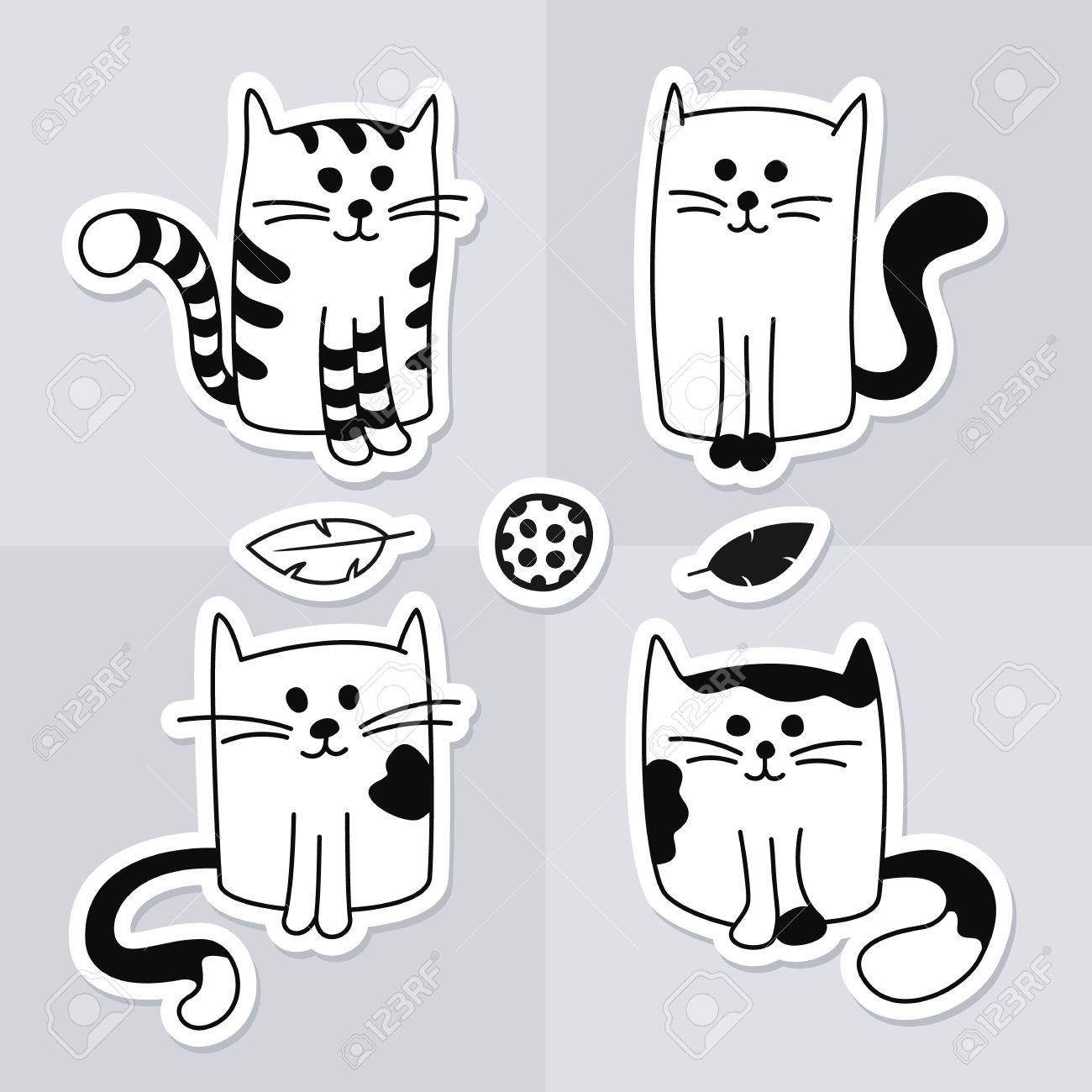 Cute Cartoon Black And White Cats Or Kittens With Cat Toys Set Royalty Free Cliparts Vectors And Stock Illustration Image 70187766