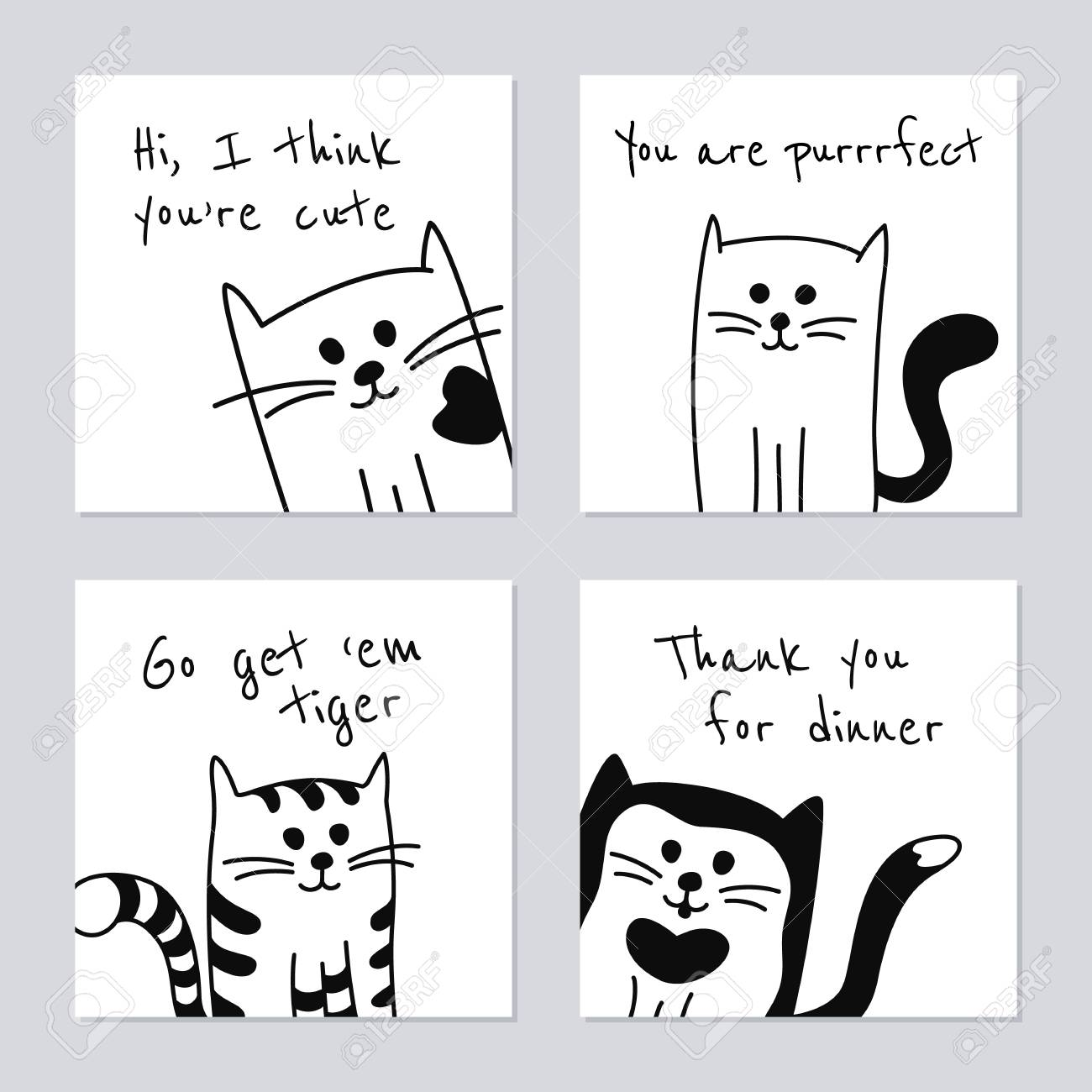 Set of four greeting cards or templates cartoon black and white set of four greeting cards or templates cartoon black and white cats or kittens stock m4hsunfo