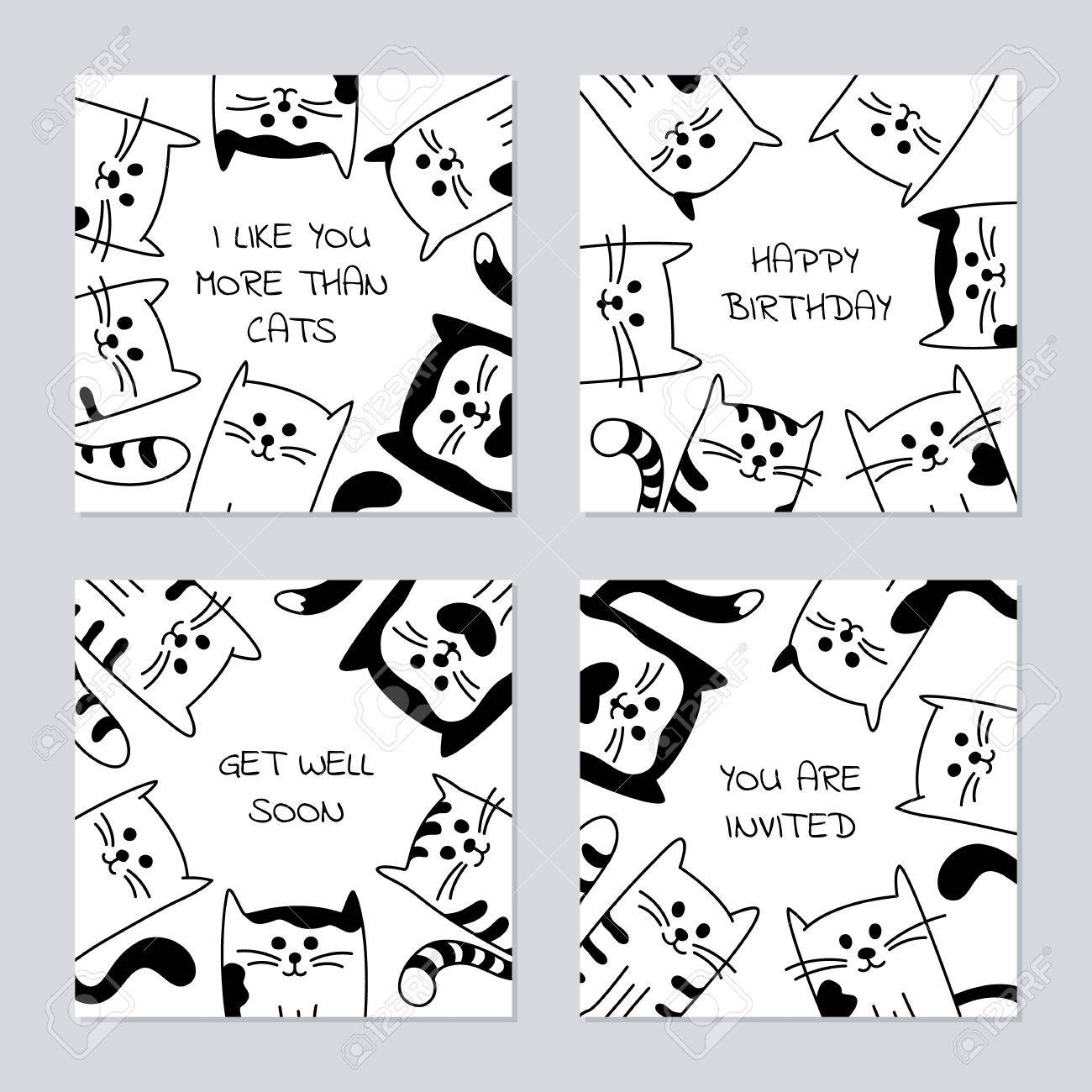Set Of 4 Backgrounds With Hand Drawn Cartoon Black And White