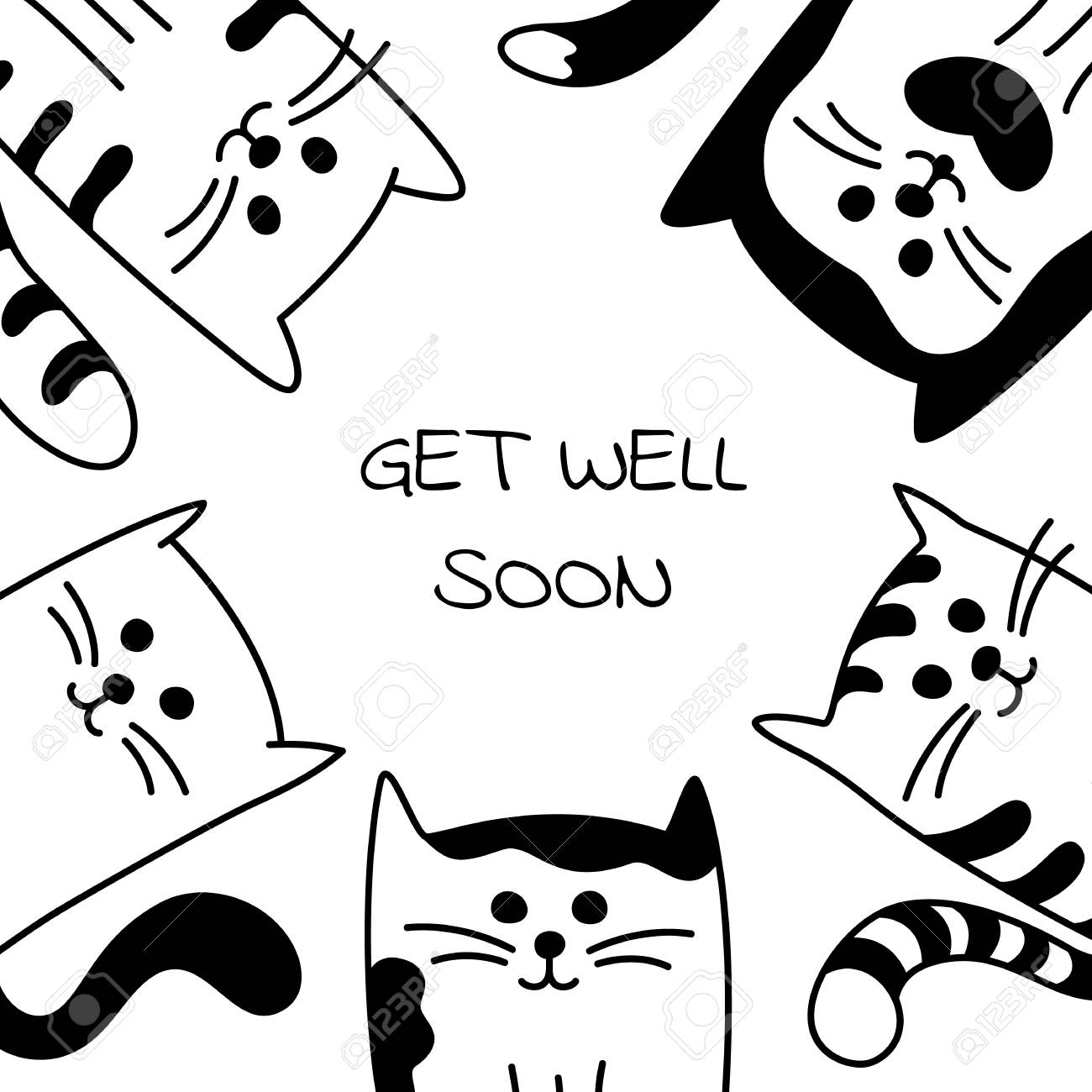 vector vector background with words get well soon and hand drawn cartoon black and white cats or kittens may be used as a encouragement card