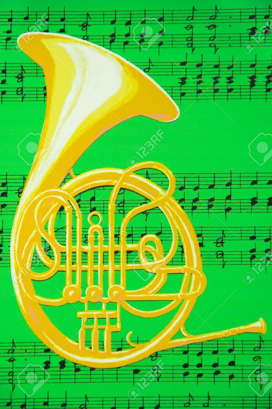 a brass french horn is against a background of music notes on