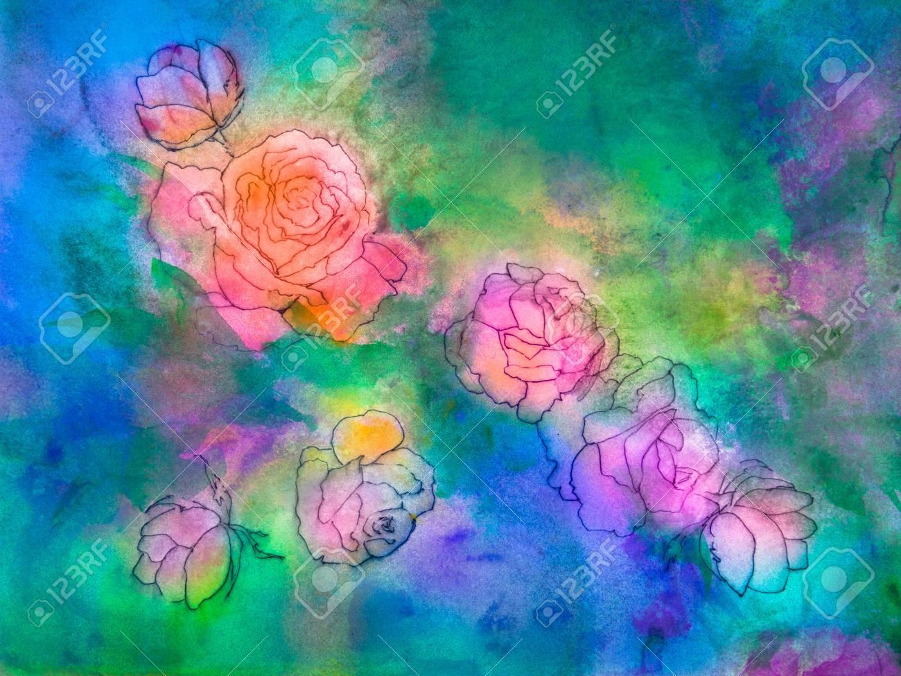 Immagini Stock Disegni Di Rose E Boccioli Di Rosa è Posto Su Un