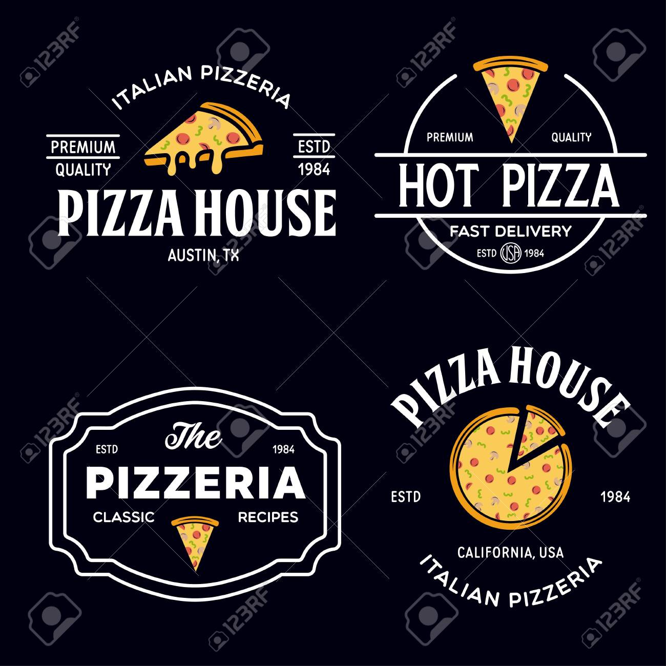 Set of pizza badges, banners, emblems for fast food restaurant. Collection labels for menu design restaurant or pizzeria. Isolated vector illustration. - 148210893