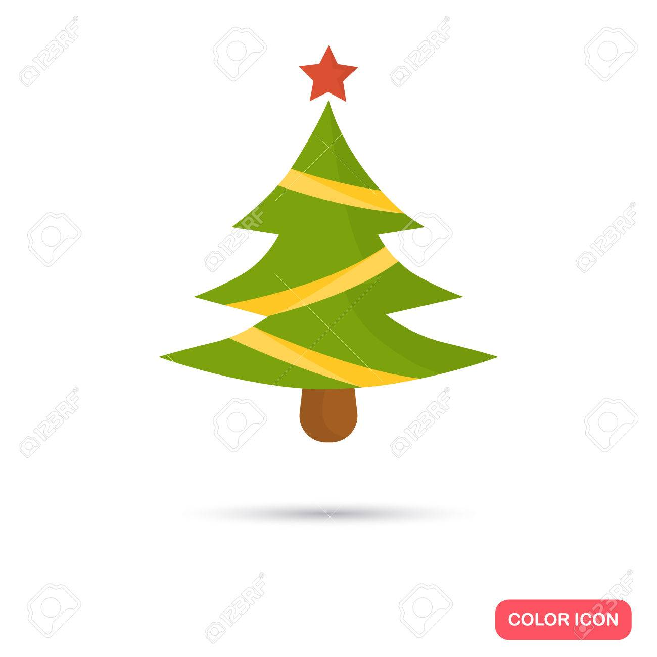 Christmas Fir-tree Color Icon. Flat Design For Web And Mobile ...