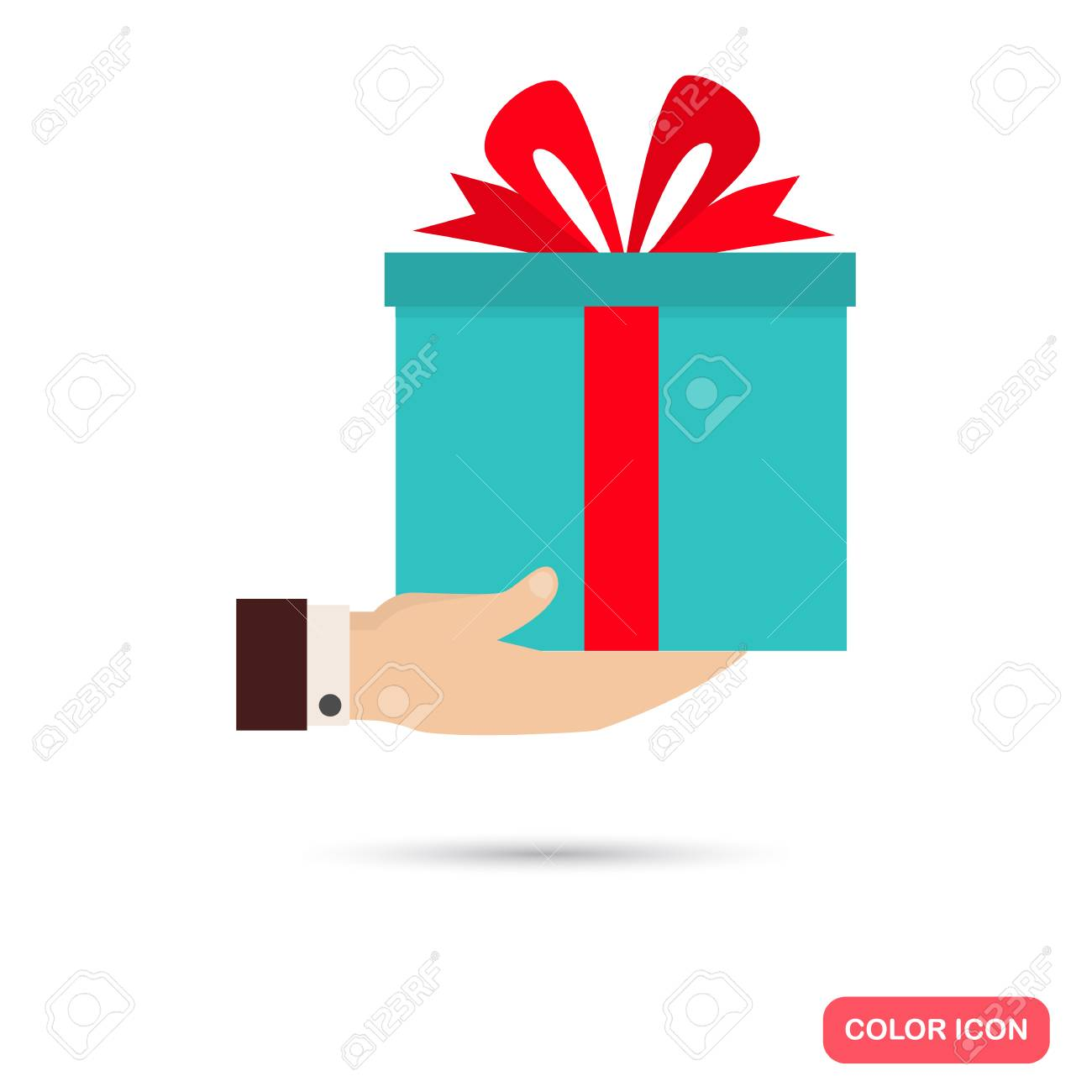 Gift box in hand color icon flat design for web and mobile royalty gift box in hand color icon flat design for web and mobile stock vector negle Gallery