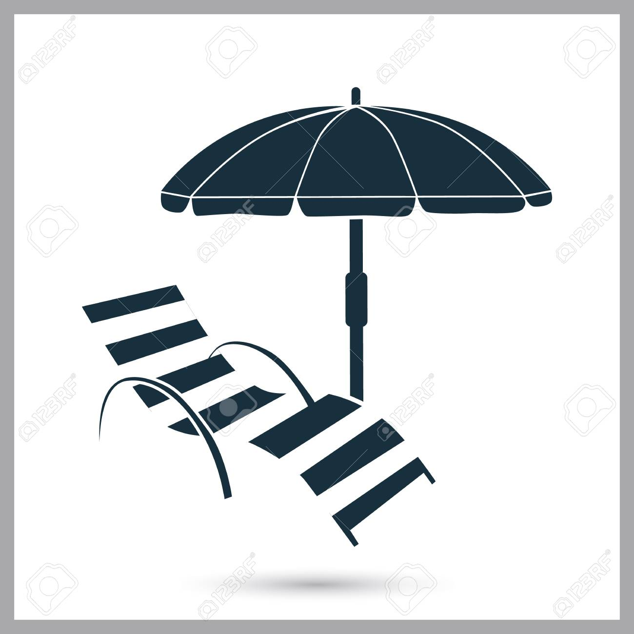 Liegestuhl Und Sonnenschirm-Symbol. Einfaches Design Für Web Und ...