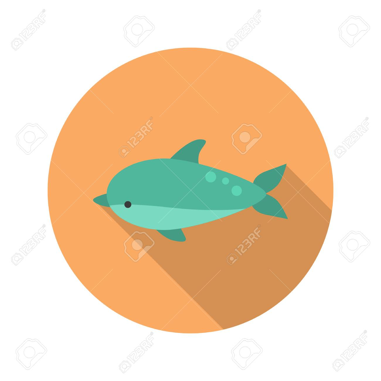 Dolphin Color Flat Icon Royalty Free Cliparts, Vectors, And Stock ...