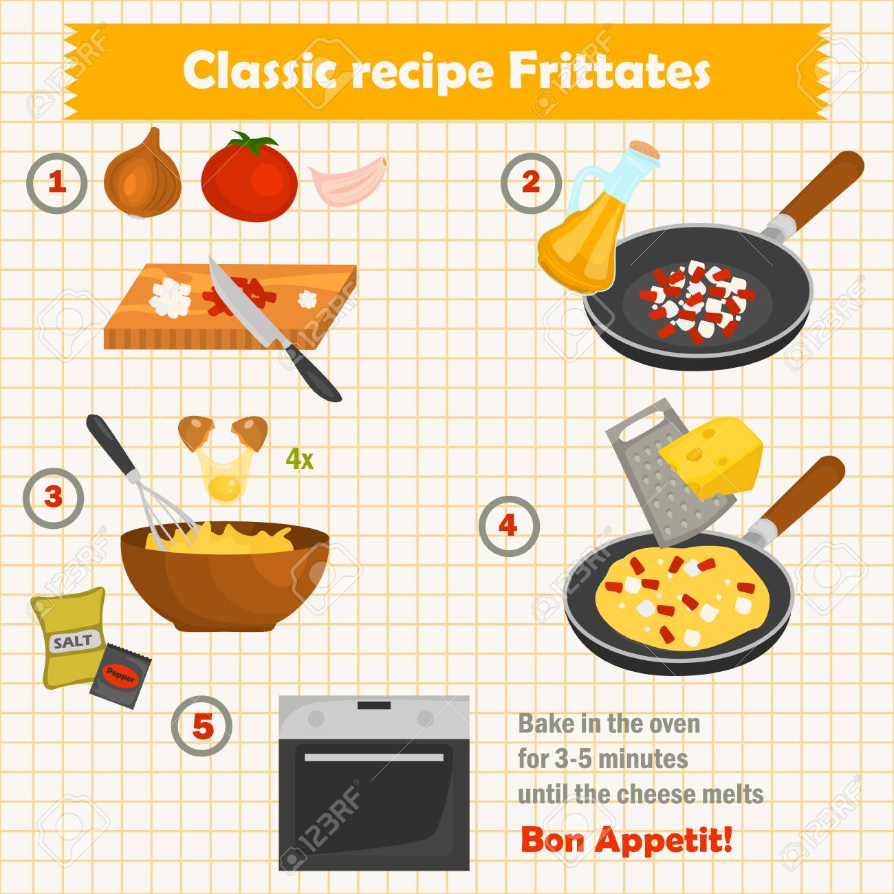 The recipe for frittates cook color illustration for web and mobile design - 84221939