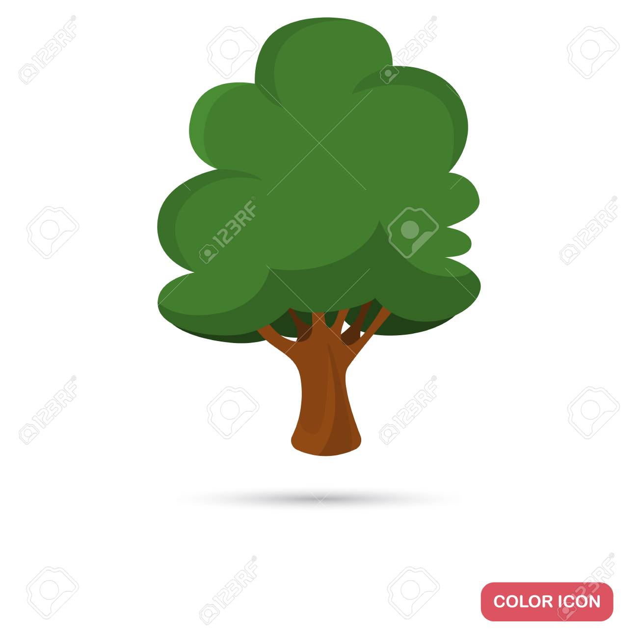 Beech Tree Color Flat Icon For Web And Mobile Design Royalty Free ...