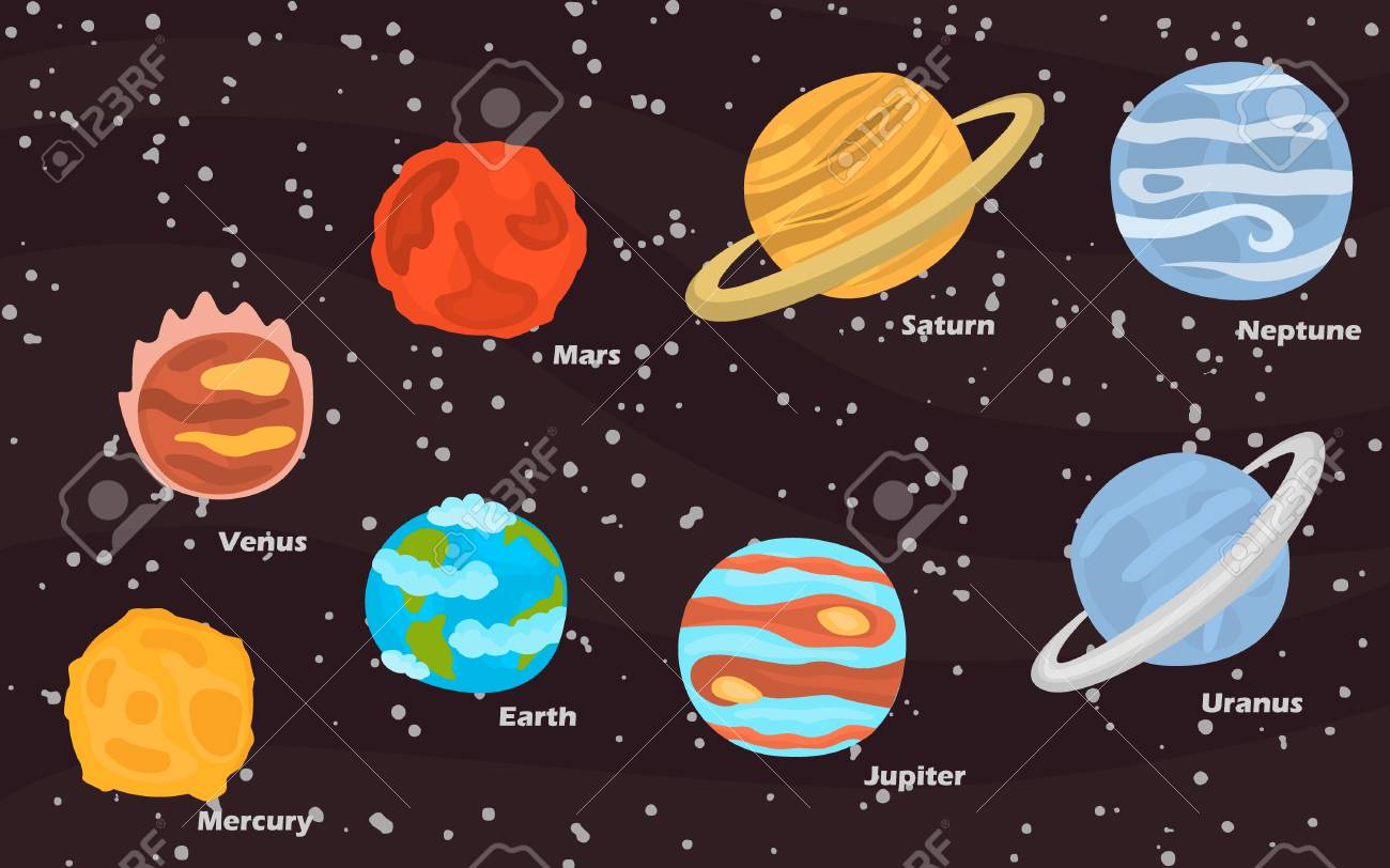 planets of solar system color icons set on space background royalty