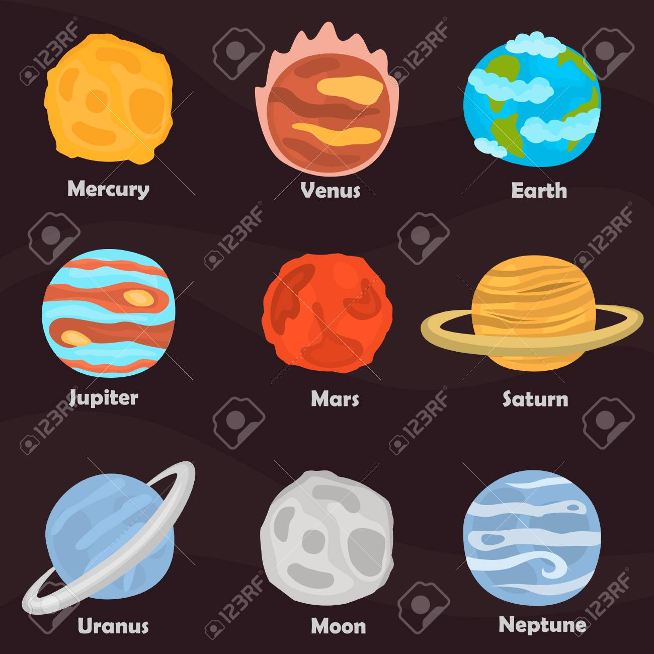 planets of solar system color icons set on color background royalty
