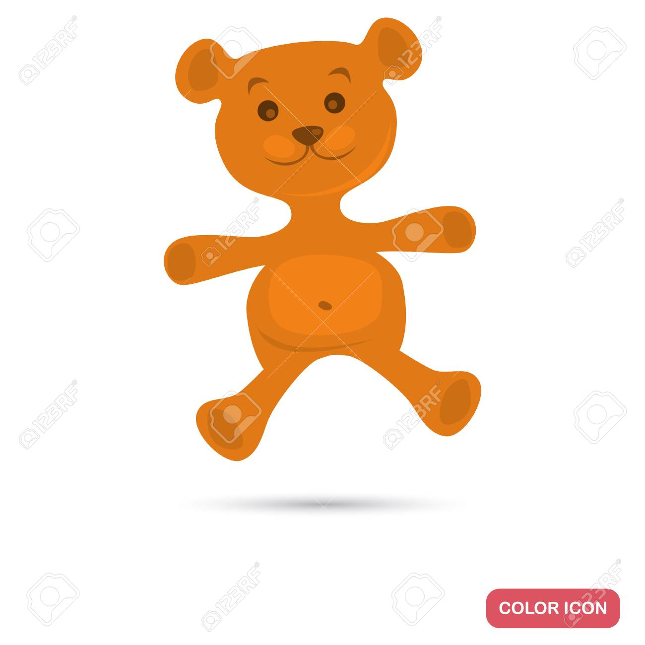 teddy bear color flat icon royalty free cliparts vectors and stock